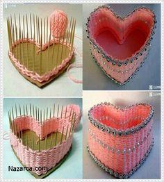 Şiş çubukları ,ip ve kartondan yapılan kalp şeklindeki taki kutusu oldukça şık olmuş.Şöyle bir bakalım nasıl yapılmış. Önce kartondan güzel bir kalp çizip kesiyoruz.aralarında 1 santim mesafe olaca…