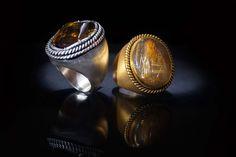 ANEL  Prata com citrino conhaque. RING   Silver with cognac citrin. AN0479 ** ANEL   Prata dourada com quartzo rutilado. RING   Gold silver with rutilated quartz. AN0423 #MarcoCruzJoalheiro #Jewelry #Joias #Classic #Portugal #Silver #Jewels