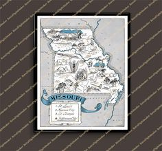 Missouri MO United States whimsical map by Retrodigitalmaker