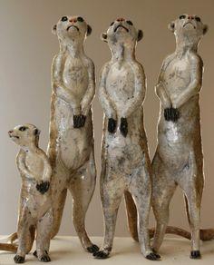 Nick Mackman Animal Sculpture Meerkat sculptures, the survivors! After the 'incident' the new meerkats survived the latest firing to complete the family. These meerkat sculptures are off to Australia today. http://nickmackmansculpture.co.uk/portfolio/meerkat-sculpture,https://fbcdn-sphotos-a-a.akamaihd.net/hphotos-ak-ash3/t1/1524962_641615832566627_1588310817_n.jpg