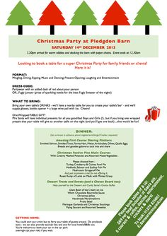 A really special Christmas Party for your staff, friends & family on Sat 14th Dec - bring your own drinks too! Ask now about great EARLY BIRD discount: T 01279 876661 or E barnservices@aol.com http://www.barnevents.co.uk/