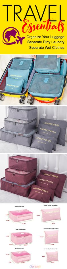 Waterproof Travel Organizing and Packing Cubes & Pouches - http://www.allthecutestuff.com/travelcubes  These super cute luggage organizer bags are a travel essential. Create more space in your suitcases, separate dirty laundry and keep wet stuff separate with these high-quality, waterproof travel bags. Cool travel tip: Got multiple family members sharing luggage? Use packing cubes to keep everybody organized!