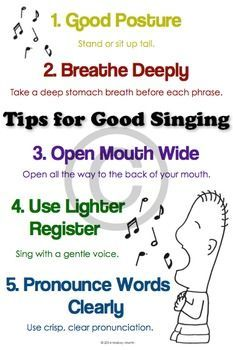 Preparing a holiday program? Trying to convince some reluctant singers that yes, anyone can sing? Wondering how to get a bigger sound out of your choir? Try these five tips for good singing. Refer to the poster on a regular basis and watch your Singing Tips, Singing Lessons, Learn Singing, Singing Quotes, Music Quotes, Singing Techniques, Breathing Techniques, Vocal Lessons, Music Lessons