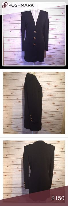 "St. John Black Santana Knit Tunic Length Jacket 3 button collarless tunic length jacket.  Measurements laid flat: 32"" from shoulder to hem; 16"" across shoulders; 17 1/2"" across bust; 15 1/2"" across waist. St. John Jackets & Coats Blazers"