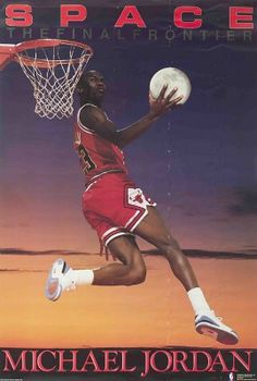 Michael Jordan led the Chicago Bulls to win six championship titles and was nominated MVP five times. The Bulls most likely would never have reached such victories if it was for Michael Jordan Sport Basketball, Basketball Posters, Basketball Legends, Sports Posters, 80s Posters, Basketball Stuff, Wall Posters, College Basketball, Michael Jordan Poster