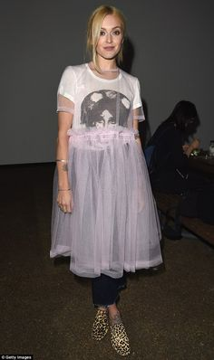 Fashion week chic? Fearne Cotton, 34, changed into an unusual tutu and T-shirt combination as she headed to the Molly Goddard catwalk show at LFW