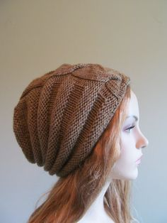 Slouchy Wool Beanie Slouch Hats Oversized Baggy Cabled por Lacywork