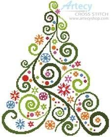 Abstract Christmas Tree - cross stitch pattern designed by Tereena Clarke. Category: Tree. #crossstitchpatterns