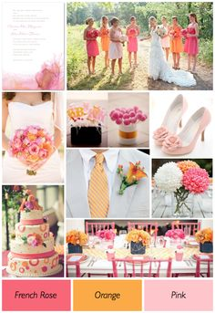 pink-and-orange-wedding-color-theme-ideas.1000+1 Creative Ways to Add Color to Your Wedding! View more wedding ideas:  http://www.homeboutiquecraft.com