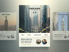XOO Plate :: Flat Web UI City Widgets Set - Flat city widgets - city, temperature, image, menu (hotels, places, restaurants) and place addresses with circular photos. PSD