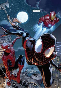 Drawing Marvel Comics Spider-men by Sara Pichelli - Marvel Comics, Marvel Art, Marvel Heroes, Marvel Characters, Spiderman Drawing, Spiderman Spider, Amazing Spiderman, Miles Spiderman, Spiderman Marvel