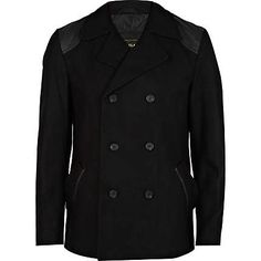 Black quilted patch pea coat 110,00 €