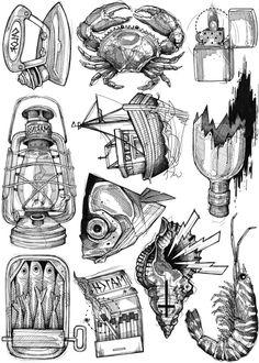 Lea Nahon, Tattoo Drawings, Art Drawings, Drawing Ideas List, Candle Tattoo, Snake Drawing, Underwater Art, Object Drawing, Dark Tattoo