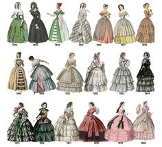 Historical Fashion — lolita-wardrobe: A Timeline of Women's Fashion. Victorian Era Fashion, 1800s Fashion, 18th Century Fashion, Retro Fashion, Fashion Art, Vintage Fashion, Fashion Design, Bohemian Fashion, Petite Fashion