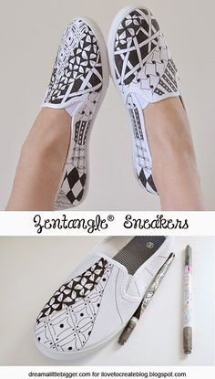 Zentangle® Sneakers Have you heard of zentangling yet? I learned about it a few years ago at a scrapbooking convention and now I LOVE the process of doodling patterns! Alison from Dream a Little Bigger created these d… Painted Canvas Shoes, Painted Sneakers, Hand Painted Shoes, Canvas Sneakers, Ideas Paso A Paso, Ty Dye, Sharpie Shoes, Shoe Makeover, Diy Vetement