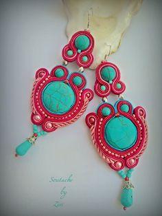 Cute Earrings, Tassel Earrings, Statement Earrings, Drop Earrings, Pink Turquoise, Coral Pink, Rosa Coral, Tutorial Soutache, Turquesa Coral