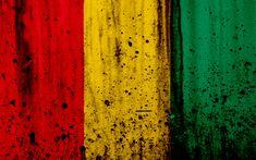 Download wallpapers Guinean flag, 4k, grunge, flag of Guinea, Africa, Guinea, national symbols, Guinea national flag