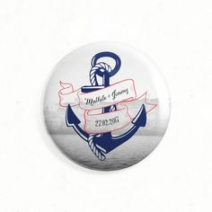 """Wedding magnet as save the date, thank you or gift - """"Nautical"""", retro, marine, sea, anchor, vintage, ribbon, rope, blue, red - Paper and Love  __  Magnet de mariage aimanté comme save the date, cadeau ou remerciements - """"Marin"""", original, nautique, voyage, retro, vintage, ancre, corde, mer, rouge, bleu - Paper and Love - www.paperandlove.be"""