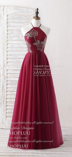 Burgundy tulle beads long prom dress burgundy evening dress