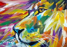 Impressionism Original Art Acrylic Painting 5x7 in Lion Face Marc Broadway | eBay