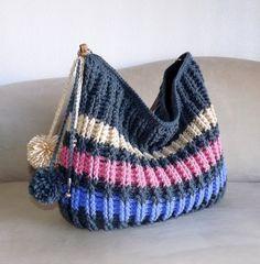 Crochet over sized striped winter hobo bag crochet by MyNicePurses, $95.00