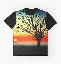 Graphic T-Shirts would make an excellent gift for him. Design: 'Tree Silhouette' by Cherie Roe Dirksen #ChristmasGiftIdeas #tree #art