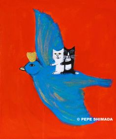 Pepe Shimada Paitings: New Painting. Cat Drawing, Illustrations And Posters, Cute Illustration, Bird Art, Crazy Cats, Cat Art, Blue Bird, Art Inspo, Collages