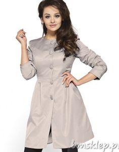Beżowy #płaszcz bez kołnierza Beige collarless #coat