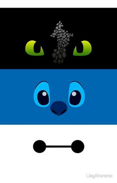 toothless, stitch and baymax