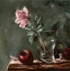 Rose in glass vase. Oleg Trofimov