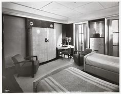 "[S.S. ""Normandie"", Grand Suite de Luxe ""Rouen"" (A Bedroom) #153, Cabin Class.]"