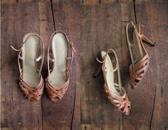 1970s vintage strappy leather slingback heels by allencompany