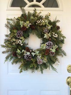 Christmas Wreath-Winter Wreath-Hydrangea Wreath-Holiday Wreath-Evergreen Wreath-Rustic Wreath-Woodland Wreath-Designer Wreath A beautiful mix of Silver Christmas Decorations, Christmas Door Wreaths, Holiday Wreaths, Christmas Crafts, Christmas Ornaments, Winter Wreaths, Diy Wreath, Making Ideas, Seeded Eucalyptus