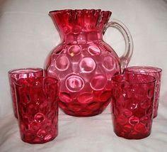 Vintage Fenton Glass Cranberry Ruby Overlay Thumbprint Water Pitcher Tumbler Set ... Fenton Glassware, Cranberry Glass, Water Pitchers, Milk Glass, Red Color, Blown Glass, Overlay, Tumbler, Handmade