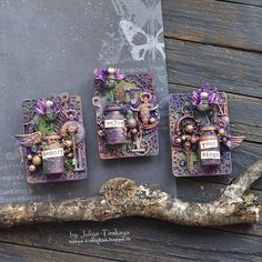 """Today I'm with a new project - Mixed Media ATC """"Magic"""" In the base of my cards - ATC Frame I adore . Mix Media, Puzzle Piece Crafts, Fairy Door Accessories, Art Trading Cards, Mixed Media Scrapbooking, Atc Cards, Mixed Media Canvas, Altered Art, Elsa"""