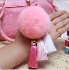 Pom pom Tassel Pink Handbag Keychain Real Rabbit Fur - Bynmix