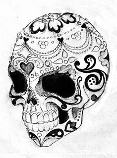 Sugar skull tattoo stencil 19