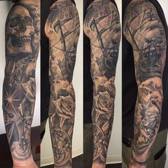 """3,813 Likes, 27 Comments - ⠀⠀⠀⠀⠀⠀⠀⠀TATTOO ARTISTS (@tattoo.artists) on Instagram: """"Brilliantly done b&g sleeve Artist IG: @fernie_andrade"""""""