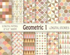 "Geometric Digital Paper: ""GEOMETRIC 1"" Pastel Geometric Patterns, triangle, honeycomb for scrapbooking, cards, invites - Buy 2 Get 1 Free"