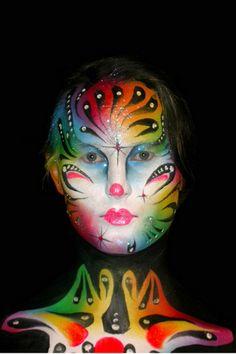 #Rainbow colors #face paint           #theatre makeup