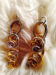 Silver and Gold Wire Wrapped Earrings on Etsy, $20.00