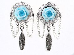 PAIR Blue Glitter Rose Antique Silver by PrettyBigPlugs on Etsy