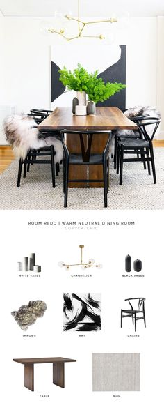 Room Redo Modern Minimal Dining Room Look For Less Copycatchic Luxe Living For Less Budget Home Decor And Design Daily Finds Home Trends Sales Budget Travel And Room Redos Dining Room Walls, Dining Room Design, Interior Design Living Room, Living Room Decor, Room Interior, Warm Dining Room, Living Rooms, Room Chairs, Dining Area