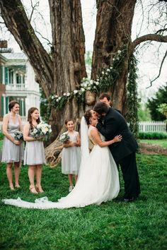Wedding Ceremony under Osage Orange Tree, Carnton Plantation // Franklin, TN Wedding Floral Design