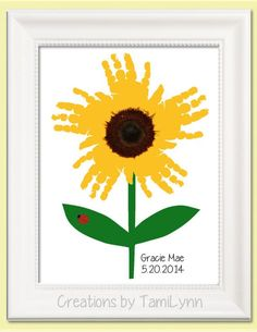 Sunflower Handprint Art – Personalized Baby Nursery, Child's Room, Girls'… - Easy Crafts for All Kids Crafts, Daycare Crafts, Baby Crafts, Crafts To Do, Fall Toddler Crafts, Infant Crafts, Spring Crafts, Holiday Crafts, Santa Crafts