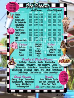 Nearly completed Retro menu board design for an iconic Ice Cream shop by Character&Co.