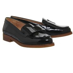 Office Present Bow Loafers Black Patent Leather ($86) ❤ liked on Polyvore featuring shoes, loafers, black loafers, black patent leather loafers, kohl shoes, patent shoes and bow loafers