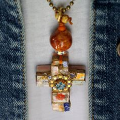 Mosaic Cross mixed media mosaic pendant by lisabetzoriginals, $44.00
