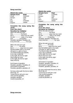 Song Worksheet: Paradise by Coldplay (Simple Past)