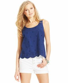 $20 other colors too.Jessica Simpson Parlez Vous Eyelet Top